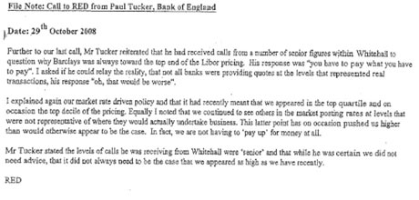 Email sent by Barclays' Bob Diamond over Libor discussions.