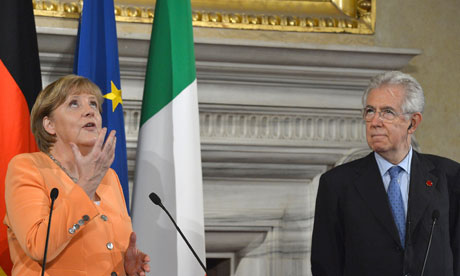 German Chancellor Angela Merkel and Mario Monti.