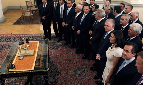 Swearing in of the Greek cabinet in June 2012.