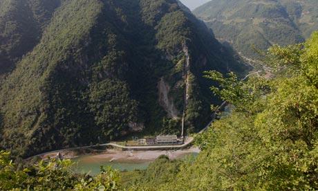 中国湖北省盛环家自然储备内建造了水电站之一