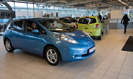 Nissan Leaf electric car in  Oslo, Norway