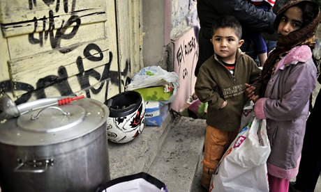 MDG : aid money : donated food for Immigrant children in Greece