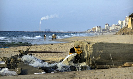 toxic metal pollution : A sewage drain floods into the Mediterranean sea
