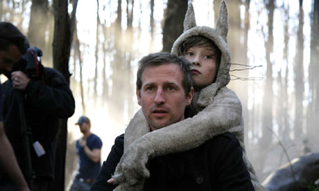 Spike Jonze on the set of Where the Wild Things Are, with its young star
