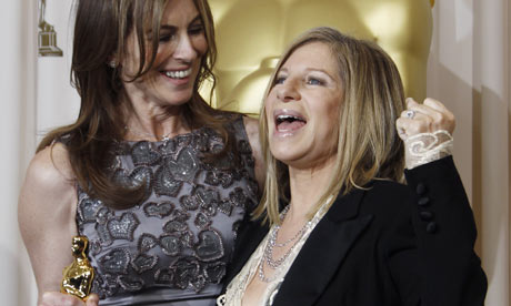 Kathryn Bigelow celebrates her best director Oscar with Barbra Streisand