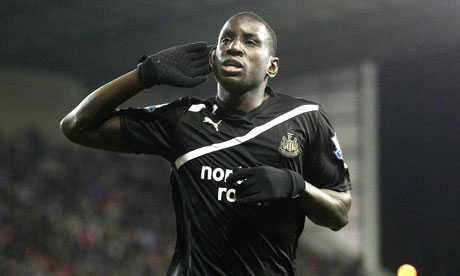 Demba Ba celebrates after scoring Newcastle's first goal against Stoke City