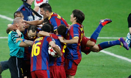 Barcelona celebrate winning the Champions League