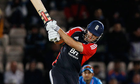 England's Alastair Cook plays a shot off the bowling of  India's Praveen Kumar