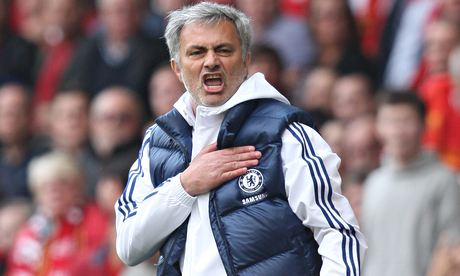 José Mourinho celebrates Chelsea's 2-0 victory over Liverpool in the Premier League