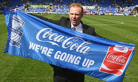 Alex McLeish of Birmingham City celebrates promotion