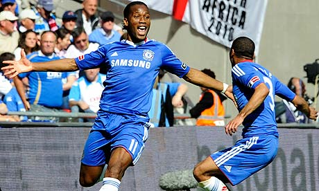 Chelsea's Didier Drogba celebrates with Ashley Cole