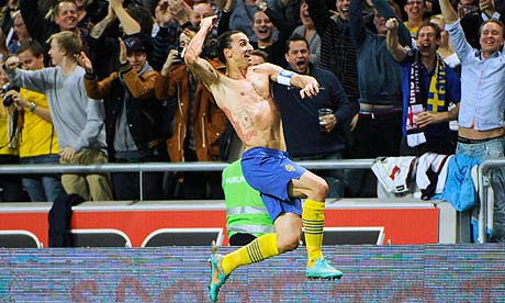 Zlatan Ibrahimovic celebrates his fourth goal in Sweden's 4-2 victory against England in Stockholm