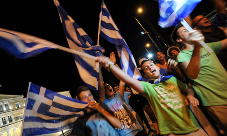 Greek supporters celebrate
