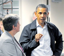 President Obama with Janet Napolitano at Fema