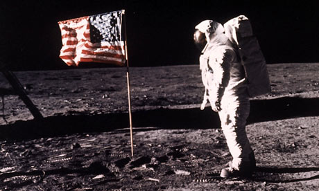 Neil Armstrong On The Moon With Flag