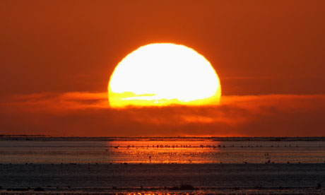 Sunrise over the North Sea in Northumberland