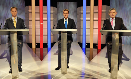 Nick Clegg, David Cameron and Gordon Brown during the leader's election debate