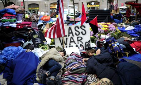 Members of Occupy Wall Street sleep in Zuccotti Park near Wall Street, New York