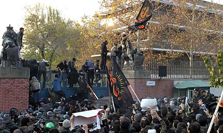 Iranian protesters break into the British embassy in Tehran.