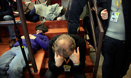 Journalist sleep waiting for the end of the European heads of states council in Brussels