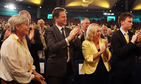 Nick Clegg and Liberal Democrat audience applauding