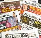 Copies of British newspapers