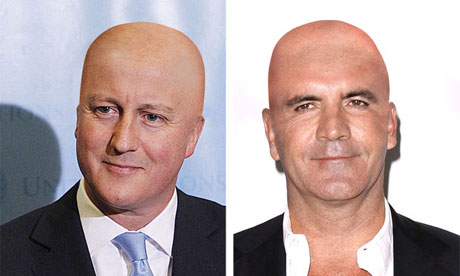 David Cameron and Simon Cowell as they would look bald.
