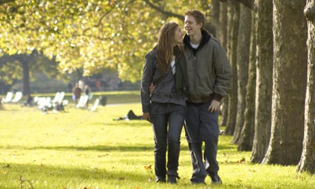 A walk in the park for a young couple. In Britain they're increasingly likely to have met online.