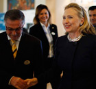 Hillary Clinton arrives in Tunisia