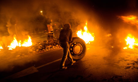 Barcelona: A barricade of burning tyres during a strike
