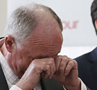 London mayoral candidate Ken Livingstone cries while watching his mayoral promo video