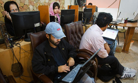 An internet cafe in Tehran, Iran, May 2011