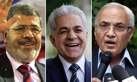 Mohammed Morsy, Hamdeen Sabahi and Ahmed Shafik