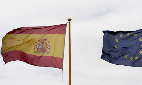 Spain eurozone flags