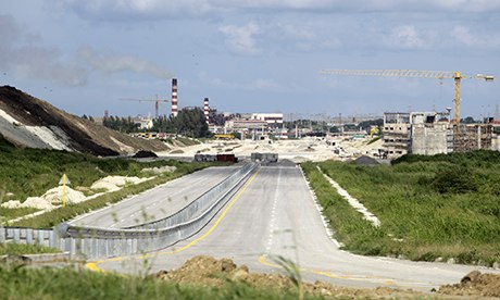 A highway under construction leading to the Mariel special development zone is pictured in Cuba