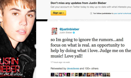 Justin Bieber turns to Twitter to deny paternity claims ...