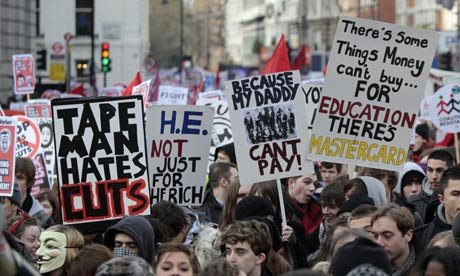 British students protest in central London against government plans to triple tuition fees