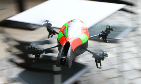 A parrot AR drone in flight