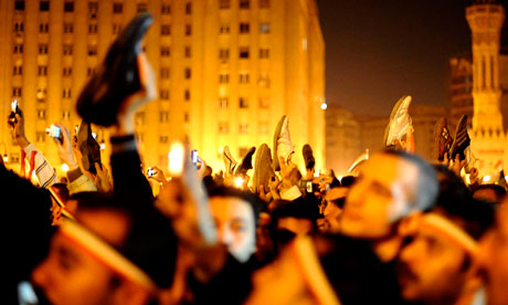 Anti-government protesters in Cairo's Tahrir Square