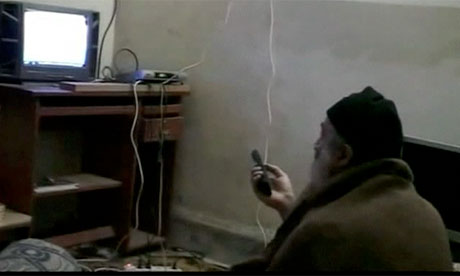 A still from a home video of Osama bin Laden released by the Pentagon