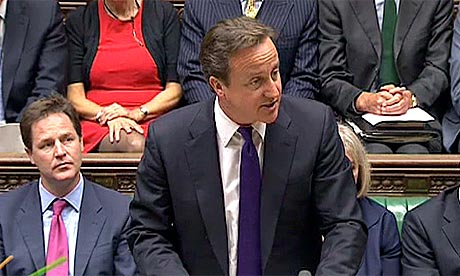Cameron speaks in parliament