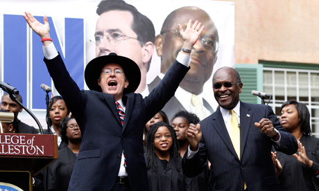 Stephen Colbert and Herman Cain at a campaign stop in Charleston