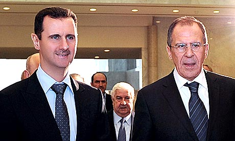 Syrian President Bashar Assad receiving Russian Foreign Minister Sergei Lavrov in Damascus, Syria