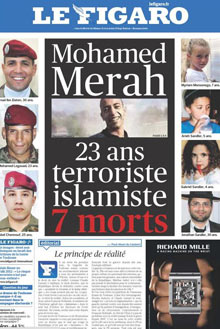 Le Figaro front page for Mohamed Merah