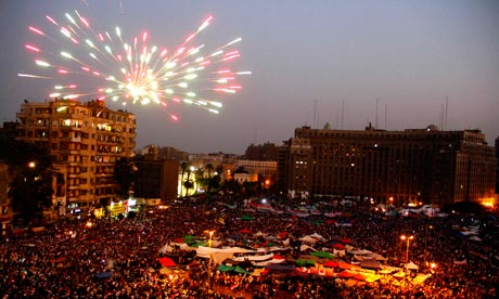 Supporters of Muslim Brotherhood's Mohamed Morsi celebrate his victory in Cairo