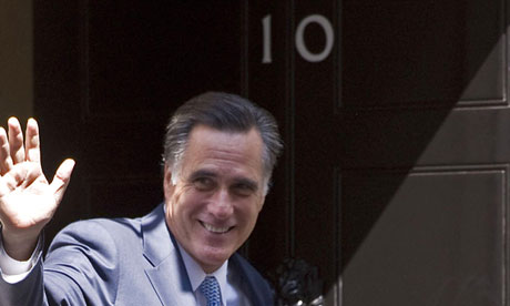 Mitt Romney outside 10 Downing Street
