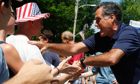 Mitt Romney at the Fourth of July parade in New Hampshire