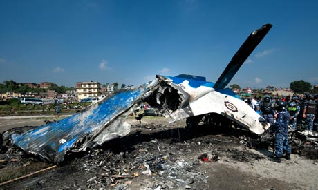 Wreckage of a Nepalese plane after it crashed in Kathmandu