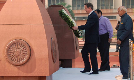 British Prime Minister David Cameron laying wreath at site of Amritsar massacre