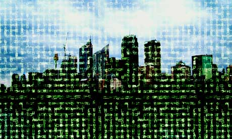 Digital city, computer artwork